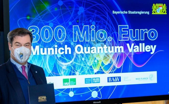 """Markus Söder bei der Vorstellung der Initiative """"Munich Quantum Valley"""""""