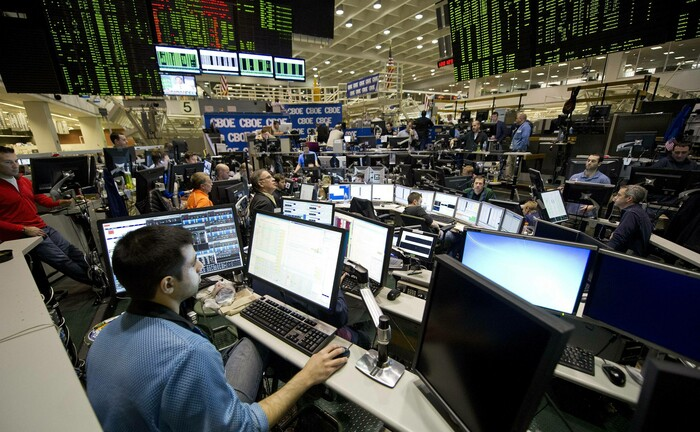 Vor-Corona-Schnappschuss von Tradern an der Terminbörse Chicago Board Options Exchange (CBOE)