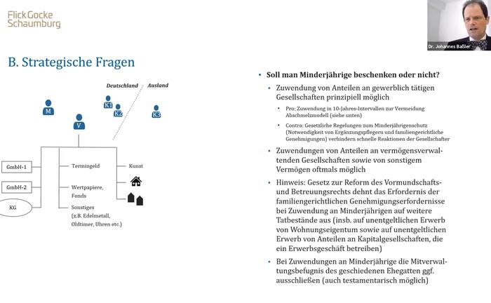"""Screenshot aus der Master Class """"Schenken und Vererben von Familienvermögen"""""""
