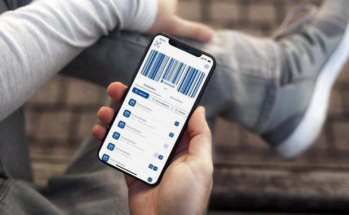 Bluecode-App auf einem Smartphone