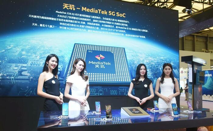 Messestand des Chip-Herstellers Mediatek auf der World Semiconductor Conference 2020