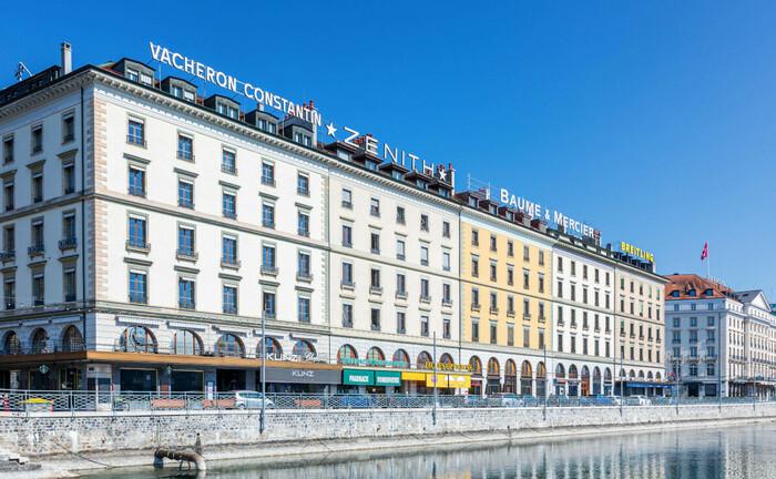 Häuserzeile an der Genfer Hafenpromenade