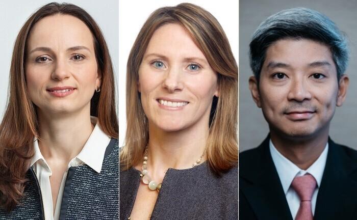 Maria Haindl (li.), Michelle Owen und Tuan Huynh von der Deutschen Bank: Alle drei bekleiden künftig neue beziehungsweise zusätzliche Rollen und sollen das Thema Nachhaltigkeit bei der IPB voranbringen.|© Deutsche Bank