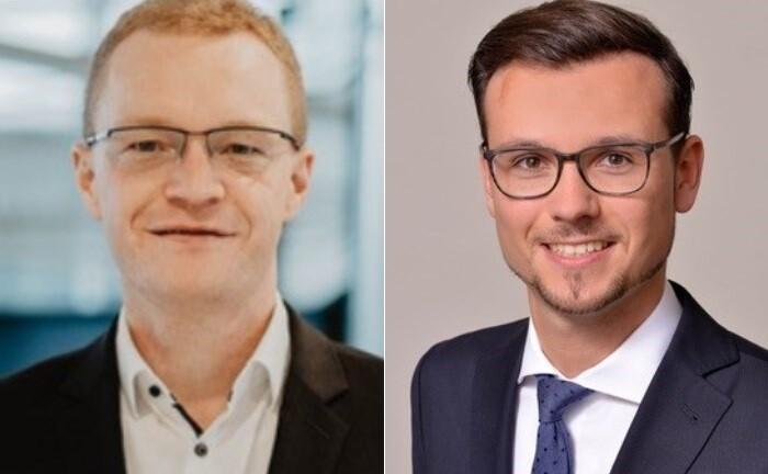Professor Alexander Zureck (li.) und Promotionsstudent Philippe Krahnhof