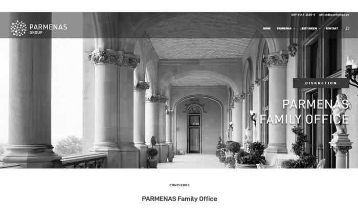 Screenshot von der Website der neu gegründeten Parmenas Group