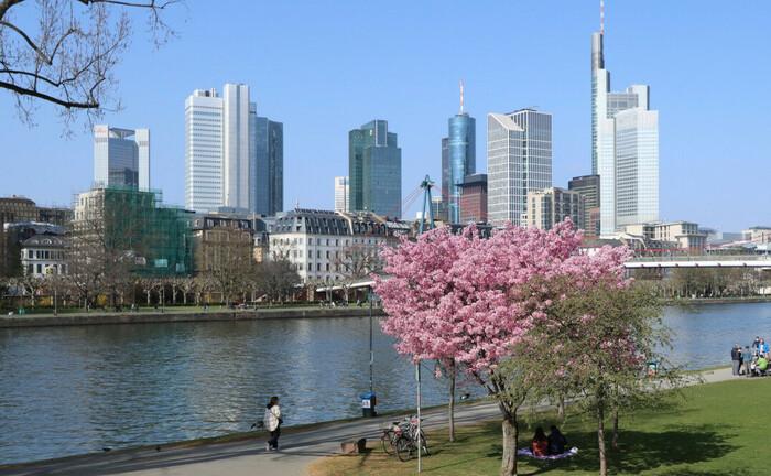 Blick über den Main auf die Skyline von Frankfurt am Main