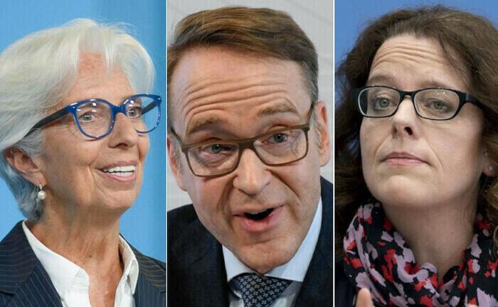 EZB-Funktionäre Christine Lagarde (links), Jens Weidmann und Isabel Schnabel