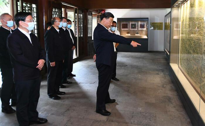 Xi Jinping, Chinas auf Lebenszeit gewählter Staatspräsident, bei einer Inspektionsreise in der Hebei-Provinz Ende August 2021